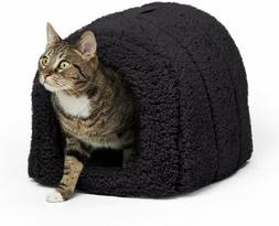 Best Friends by Sheri Pet Igloo Hut, Sherpa, Black - Cat and