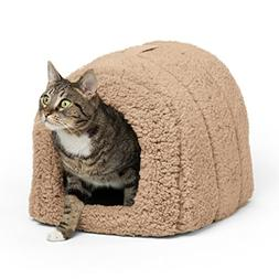 Best Friends by Sheri Pet Igloo Hut, Sherpa, Beige - Cat and