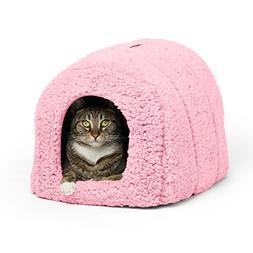 Best Friends by Sheri Pet Igloo Hut, Sherpa, Pink - Cat and