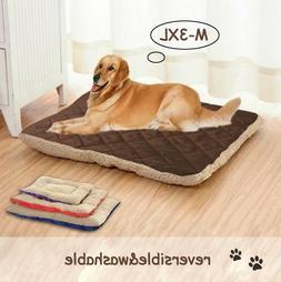 Pet Large Dog Bed Cat Mat Soft Plush Cushion Reversible Tear