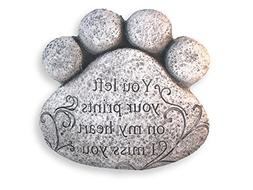 "Pet Paw Print Memorial Stepping Stone- ""Prints On My Heart"""