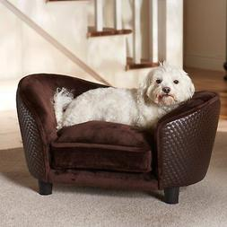Pet Plush Wood Sofa Bed Dog Luxury Seat Chair Cat Brown Remo