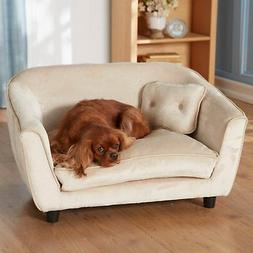Pet Plush Wood Sofa Bed Dog Luxury Seat Chair Cat Beige Remo