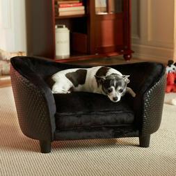 Pet Plush Wood Sofa Bed Dog Luxury Seat Chair Cat Black Remo