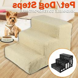 Pet Puppy Step 3 Steps Dog Cat Stairs Ladder Climb Ramp W/Co