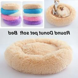 Pet Dog Velvet Cushion Kennel Round Cat House Nest Bed Plush