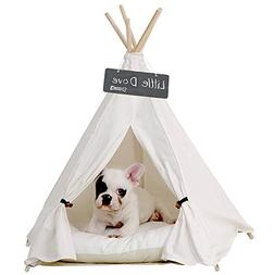 little dove Pet Teepee Dog & Cat Bed - Portable Pet Tents &