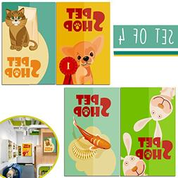 LIMITED EDITION: Pets Grooming Girls Wall Decor, Set of FOUR