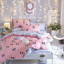 Pink Dogs Simple Duvet Cover Set Bedding Set Twin Queen King