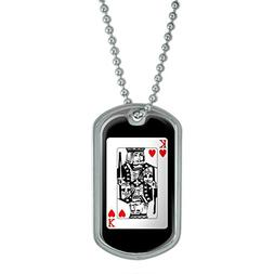 Playing Cards King of Hearts - Poker Military Dog Tag Keycha