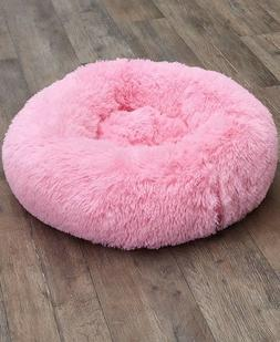 Plush Donut Pet Dog Cat Bed - Pink