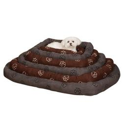 Slumber Pet Polyester Embroidered Paw Print Dog Crate Bed, M
