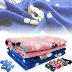 Premium Flannel Pet Blanket Small Paw Print Cat Dog Puppy Wa