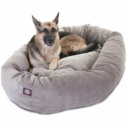 "Majestic Pet Products 52"" Suede Bagel Dog Bed Removable Cove"