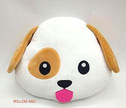 PUPPY DOG Emoji Pillow Smiley Emoticon Yellow Round Cushion