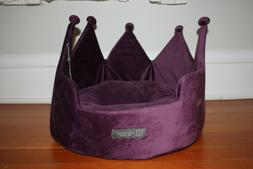NanDog Pet Gear Purple velvety micro plush king's crown dog/