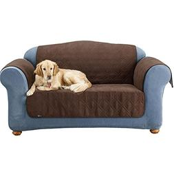 Quilted Suede Sofa Protector - Pet Throw Cover - Chocolate -