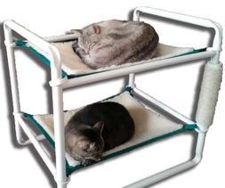 Rover Company Raised Cat Bunk Hammock Pet Bed, Green Trim