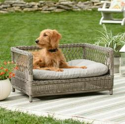 Raised Dog Bed Small Wicker Furniture Indoor Cushion Puppy C