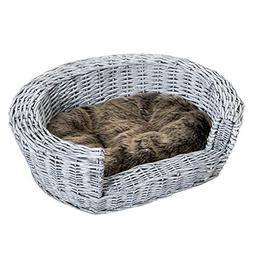 PawHut Raised Wicker Plush Faux Fur Pet Sleeping Couch with