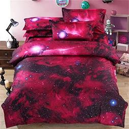 Ammybeddings Red Duvet Covers Twin with 1 Bed Sheet and 2 Pi