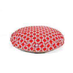 Red Links Large Round Indoor Outdoor Pet Dog Bed With Remova