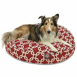 Red Links Medium Round Indoor Outdoor Pet Dog Bed With Remov