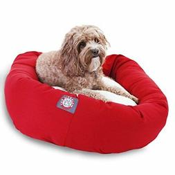 32 inch Red & Sherpa Bagel Dog Bed By Majestic Pet Products