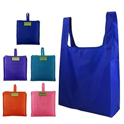 Reusable Grocery Bags Set of 5, Grocery Tote Foldable into A