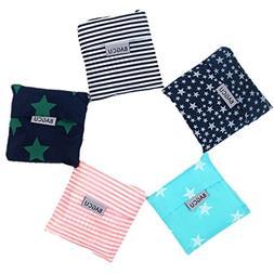 Bagcu Set of 5 Reusable Grocery Shopping Bag, Foldable Shopp
