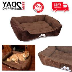 Reversible Rectangle Pet Bed Dog With Paw Embroidery Medium