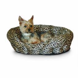 K&H Self Warming 19-Inch Leopard Pet Bed, Brown