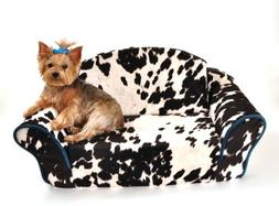 """Pet Flys Sleeper Sofa for Small Pets """"Cow Print with Turqois"""