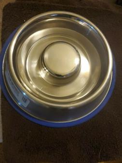 indipets slow feed STAINLESS STEEL dog bowl Small ding in bo