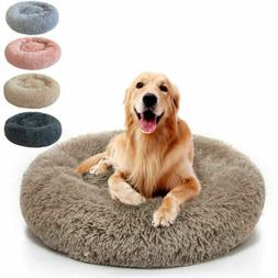 Small Large Pet Dog Puppy Cat Calming Bed Warm Soft Plush Sl