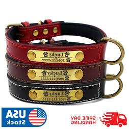 Soft Padded Leather Personalized Dog Collar Name Custom Bras