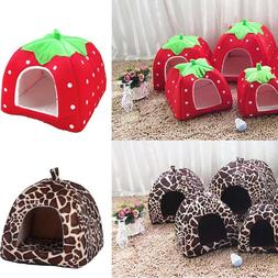 Soft Strawberry Pet <font><b>Dog</b></font> Cat House Kennel