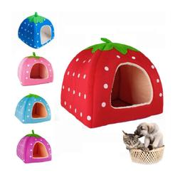 Soft Strawberry Pet Dog Cat Bed House Kennel Doggy Warm Cush
