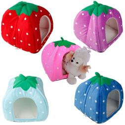 Soft Strawberry Pet Dog Cat Bed Puppy House Kennel Warm Cush