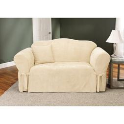 Sure Fit Soft Suede Loveseat Slipcover Cream