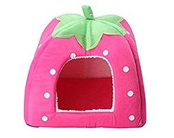 Soft Warm Strawberry Pet Dog Cat Bed House Kennel Puppy Cush