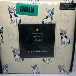Cynthia Rowley Spring Dog w/Flowers Yellow KING Bed Sheet Se