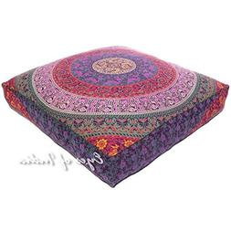"Eyes of India 35"" Blue Square Large Oversized Floor Meditati"