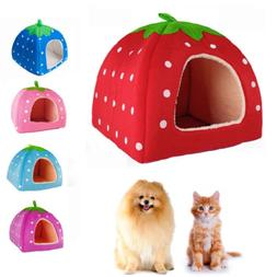 Strawberry Pet Dog Cat Bed House Kennel Doggy Warm Cushion B