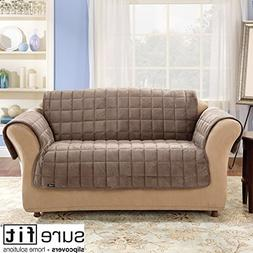 """Sure Fit Deluxe Sofa Throw Cover in Sable, 50"""" backdrop"""