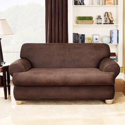 Sure Fit Stretch Leather 2-Piece T-Cushion Sofa Slipcover, B