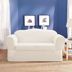 Sure Fit Twill Supreme 2-Piece Sofa Slipcover, White