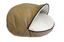 Precious Tails Tan Felt Round Cave Hamburger Pet Bed with Br