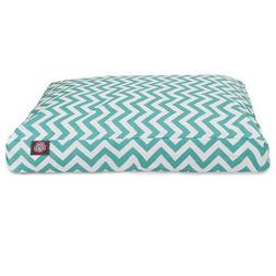 Teal Chevron Large Rectangle Indoor Outdoor Pet Dog Bed With