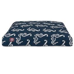 Teal Sea Horse Medium Rectangle Indoor Outdoor Pet Dog Bed W